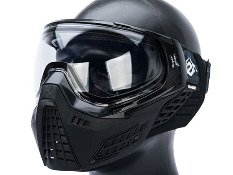HK Army KLR Full Face Mask w/ Evike.com Headband (Color: Onyx / Clear Lens)