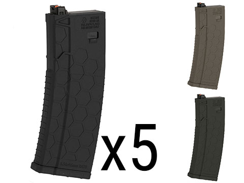 EMG Helios Hexmag Airsoft 120rds Polymer Mid-Cap Magazine for M4 / M16 Series Airsoft PTW Rifles - Box of 5