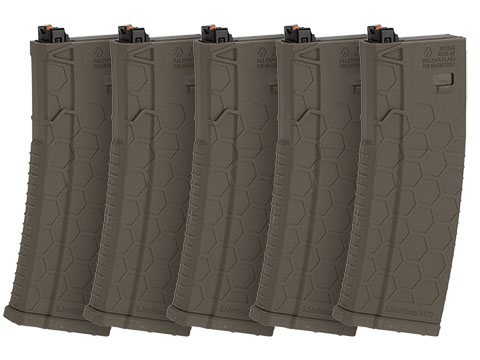 Hexmag Airsoft 120rds Polymer Mid-Cap Magazine for M4 / M16 Series Airsoft PTW Rifles - Box of 5 (Color: Flat Dark Earth)