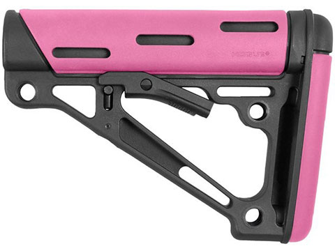 Hogue AR-15/M-16 OverMolded Collapsible Buttstock for Mil-Spec Buffer Tube (Color: Pink)