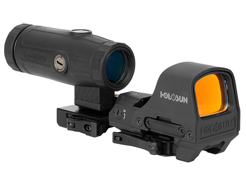 HOLOSUN HS510C Solar / Battery Powered Open Reflex Sight w/ Dual Reticle & HM3X Magnifier Combination
