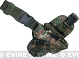 Special Force Quick Draw Tactical Thigh Holster w/ Drop Leg Panel (Woodland Marpat / Right)