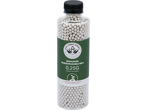 High Power Airsoft (HPA) US Lab Tested Precision Biodegradable 6mm Airsoft BBs (Weight: .25g / 4000 rds)