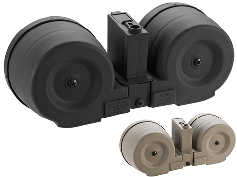 ICS 2500rd Adaptive Drum Magazine for Airsoft AEG Rifles w/ M4 Mag Adapter (Color: Black)