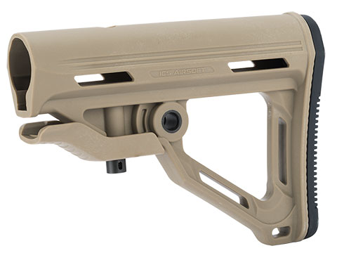 ICS High Speed Retractable Stock For M4/M16 Style Airsoft AEG (Color: Tan)