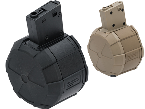 ICS 1800rd Adaptive Drum Magazine for Airsoft AEG Rifles w/ M4 Mag Adapter (Color: Black)