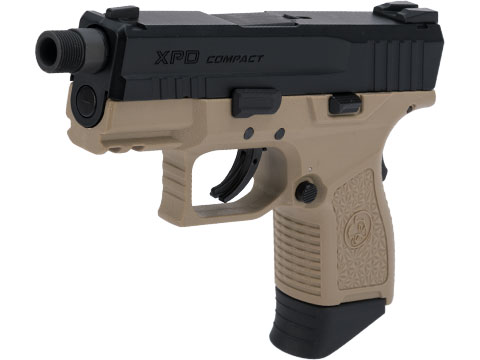 ICS BLE-XPD Ambidextrous Airsoft Gas Blowback Pistol (Color: Black Slide / Tan Frame)
