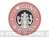 Rubberized PVC I Love Guns & Bacon Tactical Patch - Pink