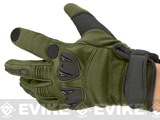 Matrix Tactical Knuckle Protector Leather Shooting Gloves (Color: OD Green / Small)