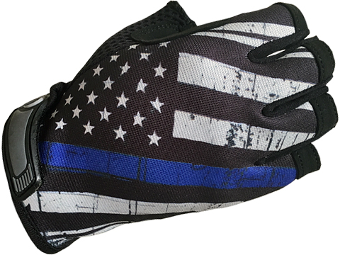 Industrious Handwear Unlined Gloves (Model: Blue Line American Flag / Half Finger / Small)