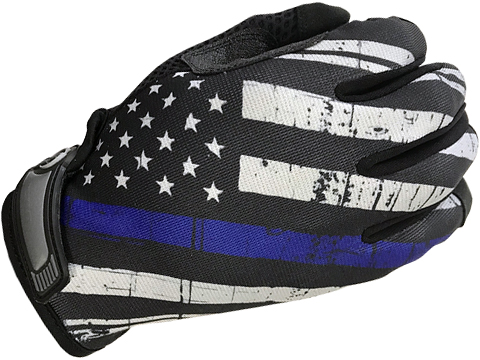 Industrious Handwear Unlined Gloves (Model: Blue Line American Flag / Full Finger / Large)