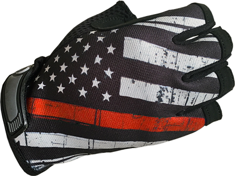 Industrious Handwear Unlined Gloves (Model: Red  Line American Flag / Half Finger / Large)