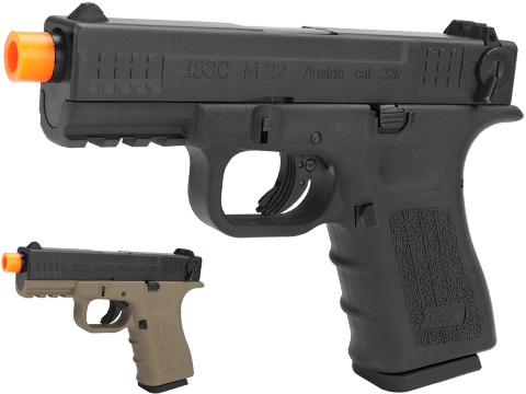 ISSC Licensed M-22 Full Metal Airsoft GBB Gas Blowback Pistol by WE (Color: Black / Green Gas)