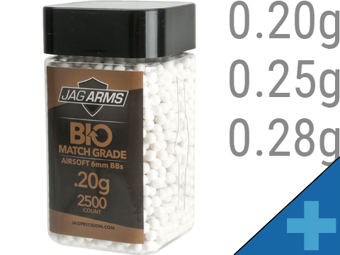 JAG Armament Biodegradable Match Grade 6mm Airsoft BBs (Weight: 0.20g / 2500 Rounds / White)