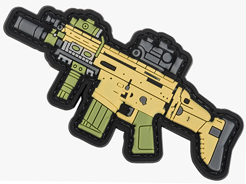 Evike.com PVC Morale Patch Mini Gun Series (Model: MK17 / Tan)