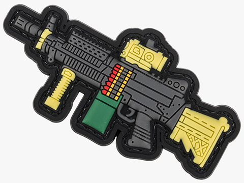 Evike.com PVC Morale Patch Mini Gun Series (Model: MK46 / Black)