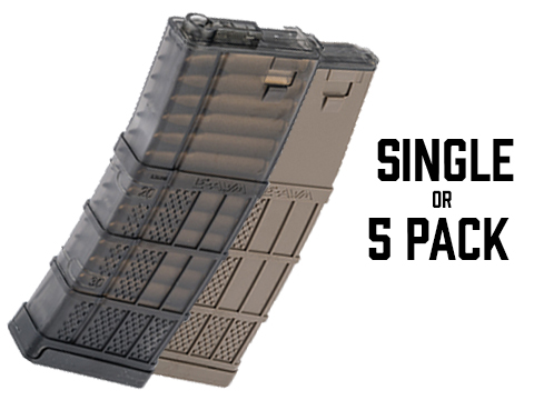 EMG 190rd Lancer Systems Licensed L5 AWM Airsoft Mid-Cap Magazines (Color: Black Smoke / Pack of 5)