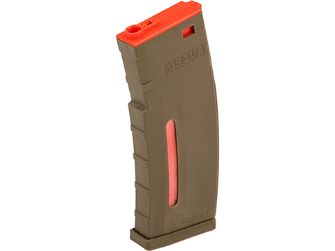 Evike.com BAMF 190rd Polymer Mid-Cap Magazine for M4 / M16 Series Airsoft AEG Rifles (Color: Tan w/ Red / Single Magazine)