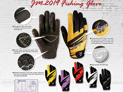 Jigging Master New 2019 3D Palm Fishing Gloves (Color: Black / Medium)