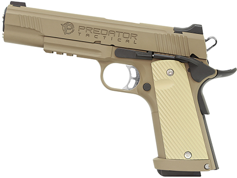 Predator Tactical Iron Shrike Gas Blowback 1911 Pistol by King Arms (Color: Dark Earth / Gas / Rail)