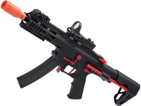 King Arms PDW 9mm SBR Airsoft AEG Rifle (Color: Black & Red / M-LOK)