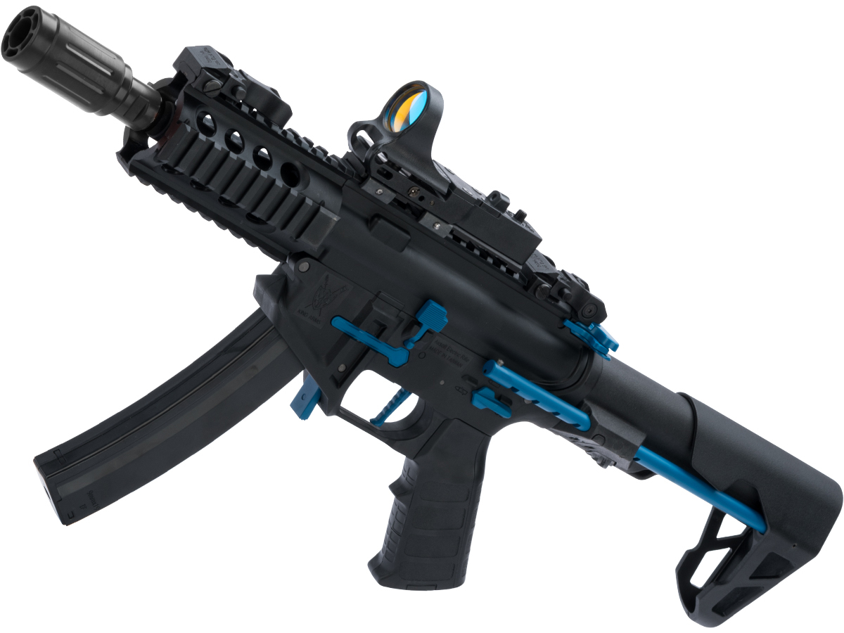 King Arms PDW 9mm SBR Airsoft AEG Rifle (Color: Black & Blue / Shorty)