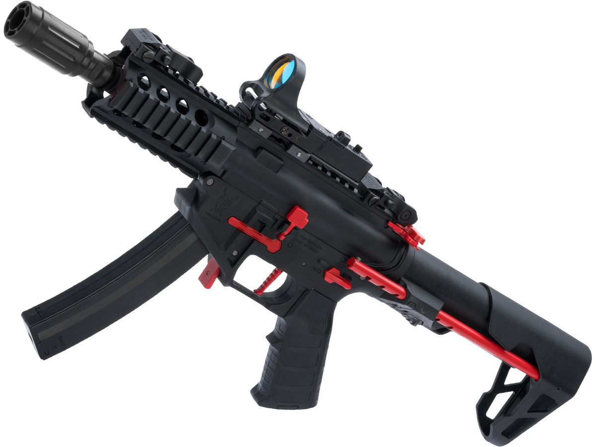 King Arms PDW 9mm SBR Airsoft AEG Rifle (Color: Black & Red / Shorty)