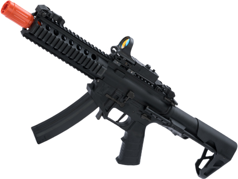 King Arms PDW 9mm SBR Airsoft AEG Rifle (Color: Black / Long / Go Airsoft Package with Optic)