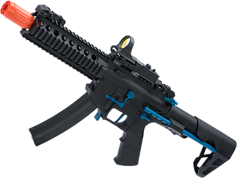 King Arms PDW 9mm SBR Airsoft AEG Rifle (Color: Black & Blue / Long)