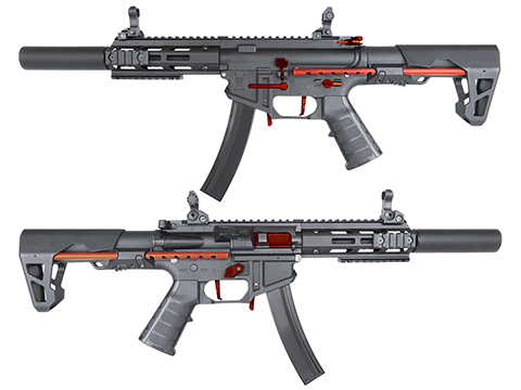 King Arms PDW 9mm SBR Airsoft AEG Rifle (Color: Black & Red / Silenced M-LOK)