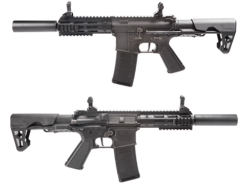 King Arms M4 PDW SBR Airsoft AEG Rifle (Color: Black / Silenced M-LOK)