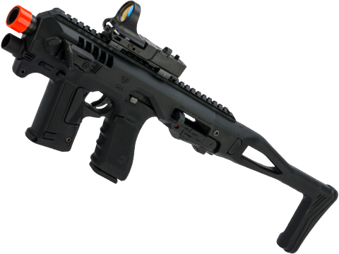 CAA Airsoft Micro Roni Pistol Carbine Conversion Kit with Elite Force GLOCK 17 Airsoft GBB Pistol (Color: Black)