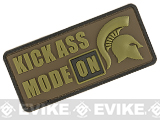 Rubberized PVC Kick Ass Mode On Tactical Patch - Tan