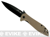 Kershaw X Emerson CQC-4K Folding Knife with 3 Blade and Wave Opening Feature - Dark Earth