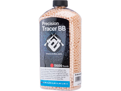 Evike.com Match Grade 6mm Airsoft Tracer BBs (Weight: Red Tracer / .20g / 5600 Rounds)