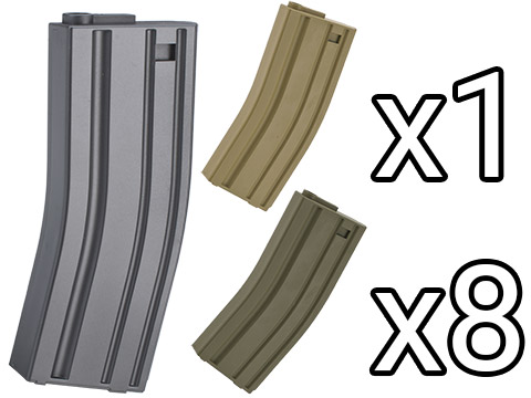 MAG 130rd Midcap Magazine for M4 / M16 Series Airsoft AEG Rifles  (Color: Grey / Set of 8)