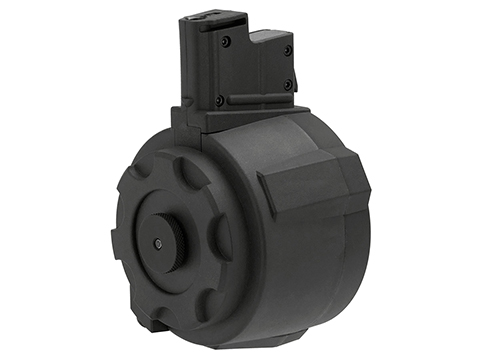 Angel Custom 1500 Round Firestorm Airsoft AEG Drum Flashmag (Color: Black / AUG Adapter)