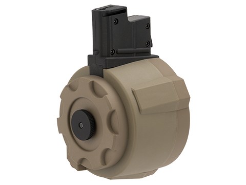 Angel Custom 1500 Round Firestorm Airsoft AEG Drum Flashmag (Color: Dark Earth / AUG Adapter)