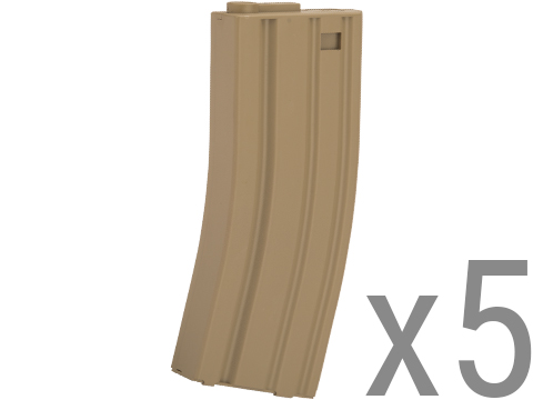 Beta Project Mil-Sim 30 Round M4/M16 Magazines for Airsoft AEGs - Box of 5 (Color: Dark Earth)