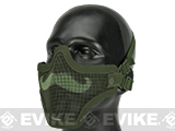 6mmProShop Iron Face Carbon Steel Mesh Moustache Lower Half Mask (Color: OD Green)