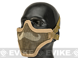 6mmProShop Iron Face Carbon Steel Mesh Moustache Lower Half Mask (Color: Tan)