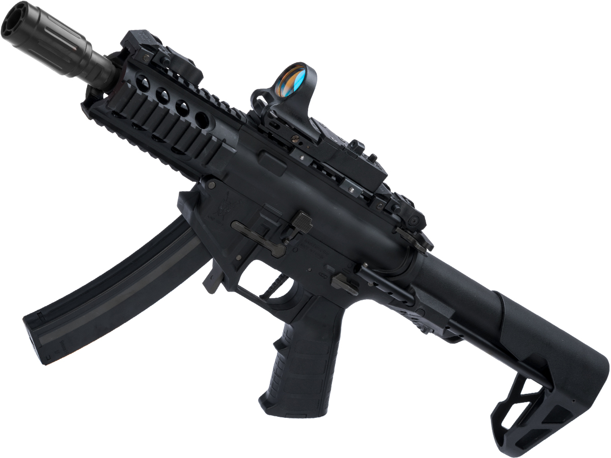 King Arms PDW 9mm SBR Airsoft AEG Rifle (Color: Black / Shorty)