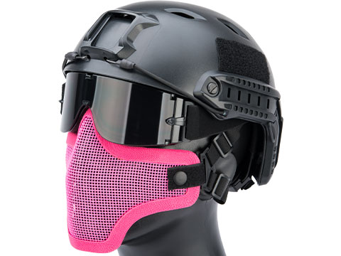 Matrix Iron Face Carbon Steel Mesh Striker V1 Lower Half Mask (Color: Pink)