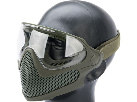 6mmProShop Pilot Face Mask w/ Steel Mesh Lower Face Protection (Color: OD Green)