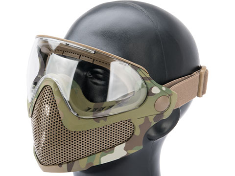6mmProShop Pilot Face Mask w/ Steel Mesh Lower Face Protection (Color: Multicam)