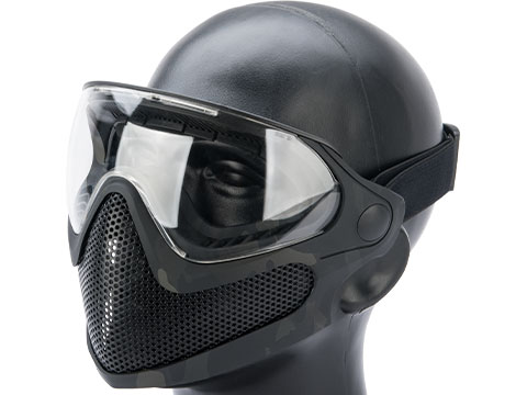 6mmProShop Pilot Face Mask w/ Steel Mesh Lower Face Protection (Color: Multicam Black)