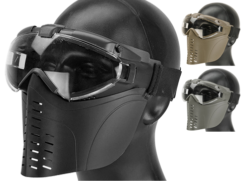 Pro-Goggle Airsoft Full Face Mask w/ Integrated Fan (Color: Black)