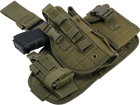 Matrix Drop Leg MOLLE Platform w/ Holster and Pouch Set (Color: OD Green)