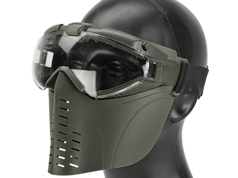 Pro-Goggle Airsoft Full Face Mask w/ Integrated Fan (Color: OD Green)