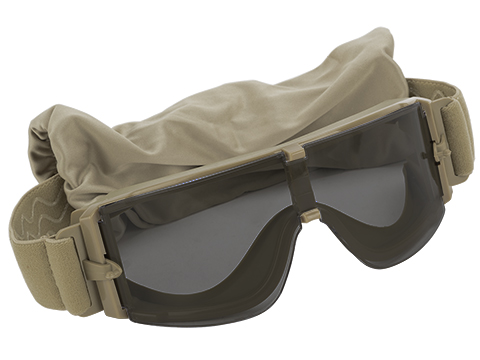 GX-1000 Anti-Fog Tactical Shooting Goggle System w/ CD Kane Strap by Matrix (Lens: Smoke / Tan Frame)